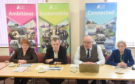 Council Leader Margaret Davidson, Alasdair Christie, Alister Mackinnon Budget Leader and Chief Executive Donna Manson.