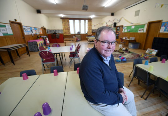 Reverend Douglas Robertson of Crown Parish Church photographed in the Lower Hall which is to be used as a nursery by Crown Primary School. Picture by Sandy McCook.