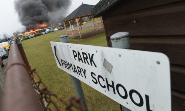 The scene at Park Primary in Invergordon.  Picture by Sandy McCook