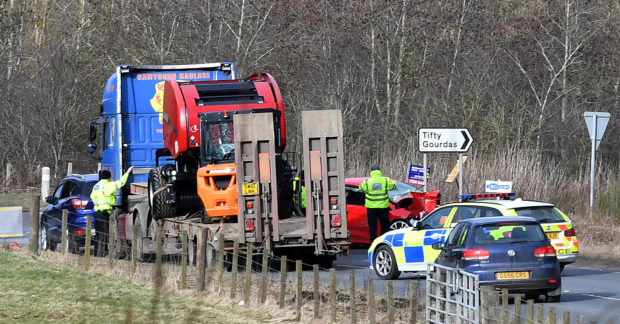 Scene of the accident on the A947 near Fyvie.