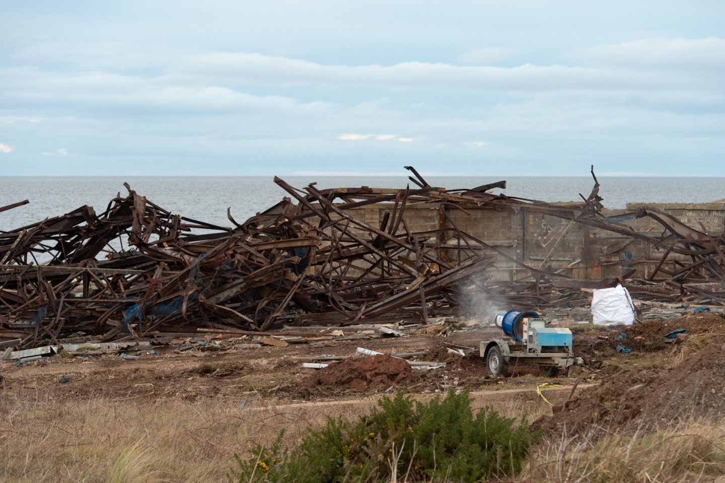 Pictures show the demolition site near Buckie Harbour, Moray. Pictures by Jason Hedges