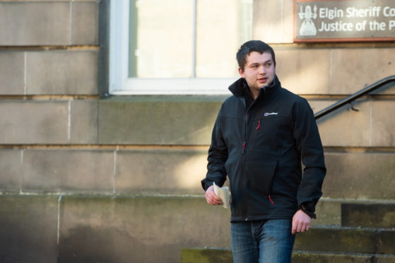 Andrew Ewen leaving Elgin Sheriff Court.