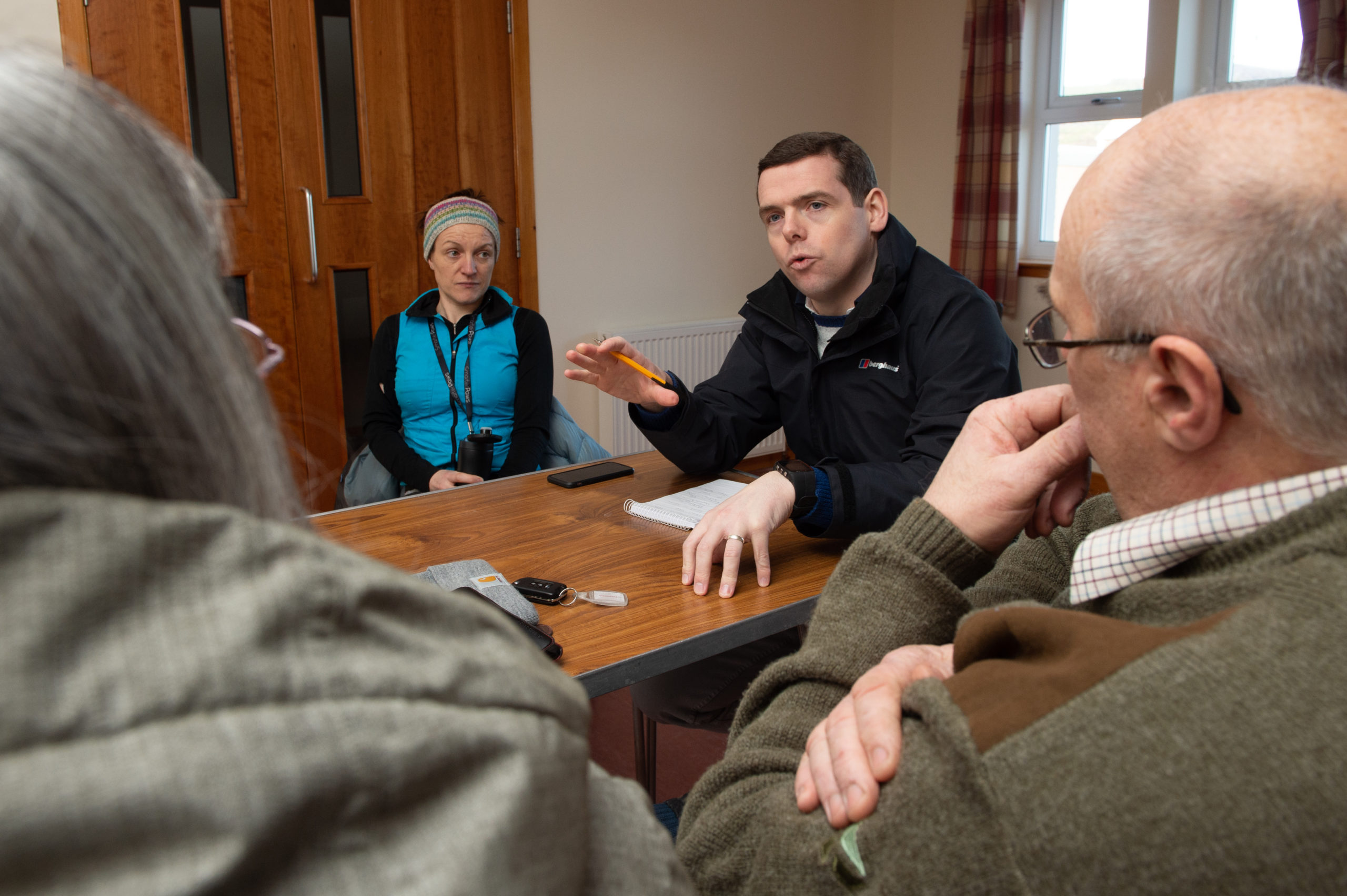 Moray MP Douglas Ross meets with community representatives of Dallas and Knockando at the Houldsworth Institute.  Pictures by Jason Hedges