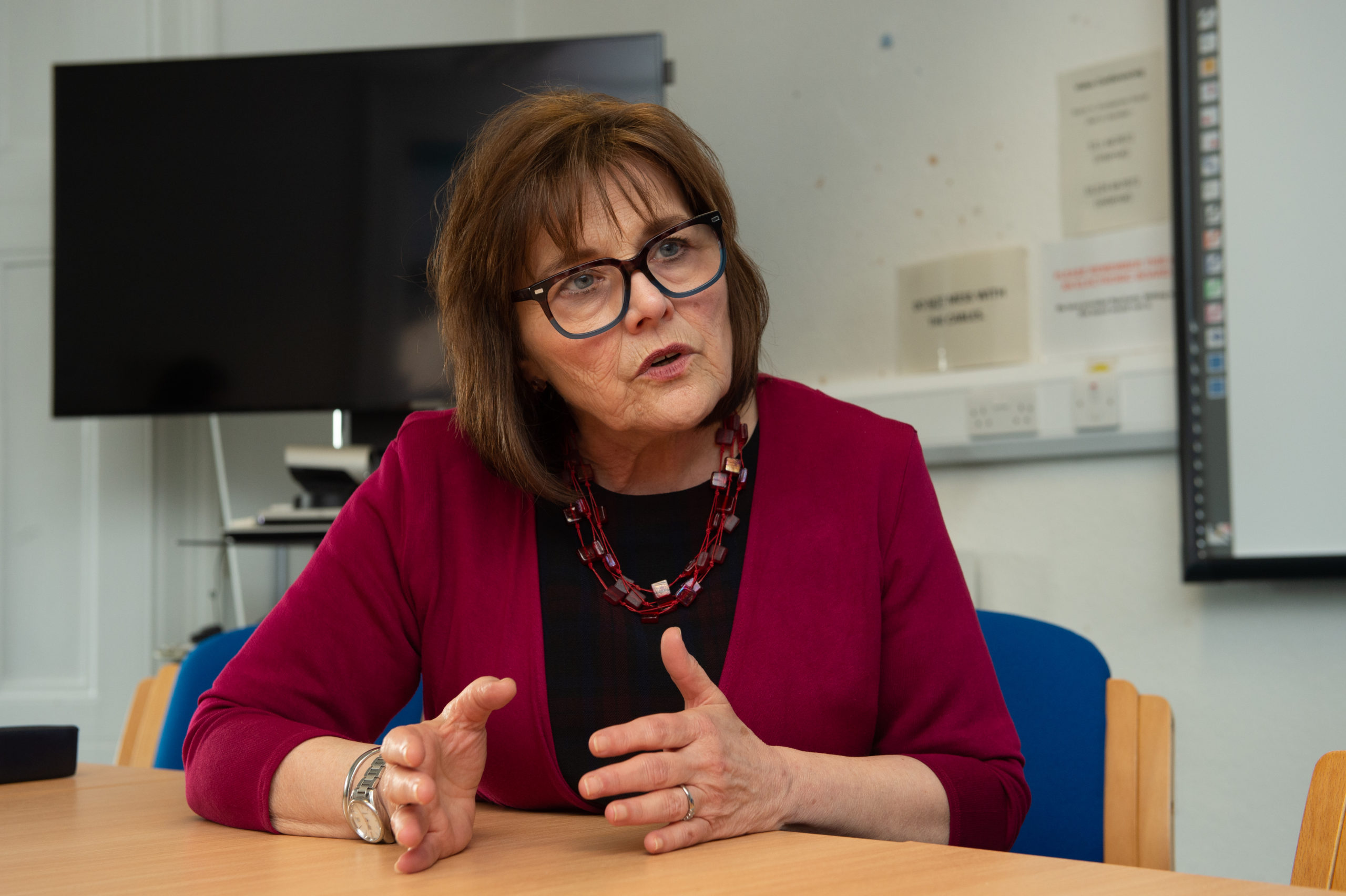 Pictures by JASON HEDGES     Health Secretary Jeane Freeman visits Dr Grays Hospital to discuss efforts to restore maternity services. Picture:Secretary for Health Jeane Freeman is pictured whilst interviewed by P&J Journalist Scott MacLennan.  Pictures by JASON HEDGES