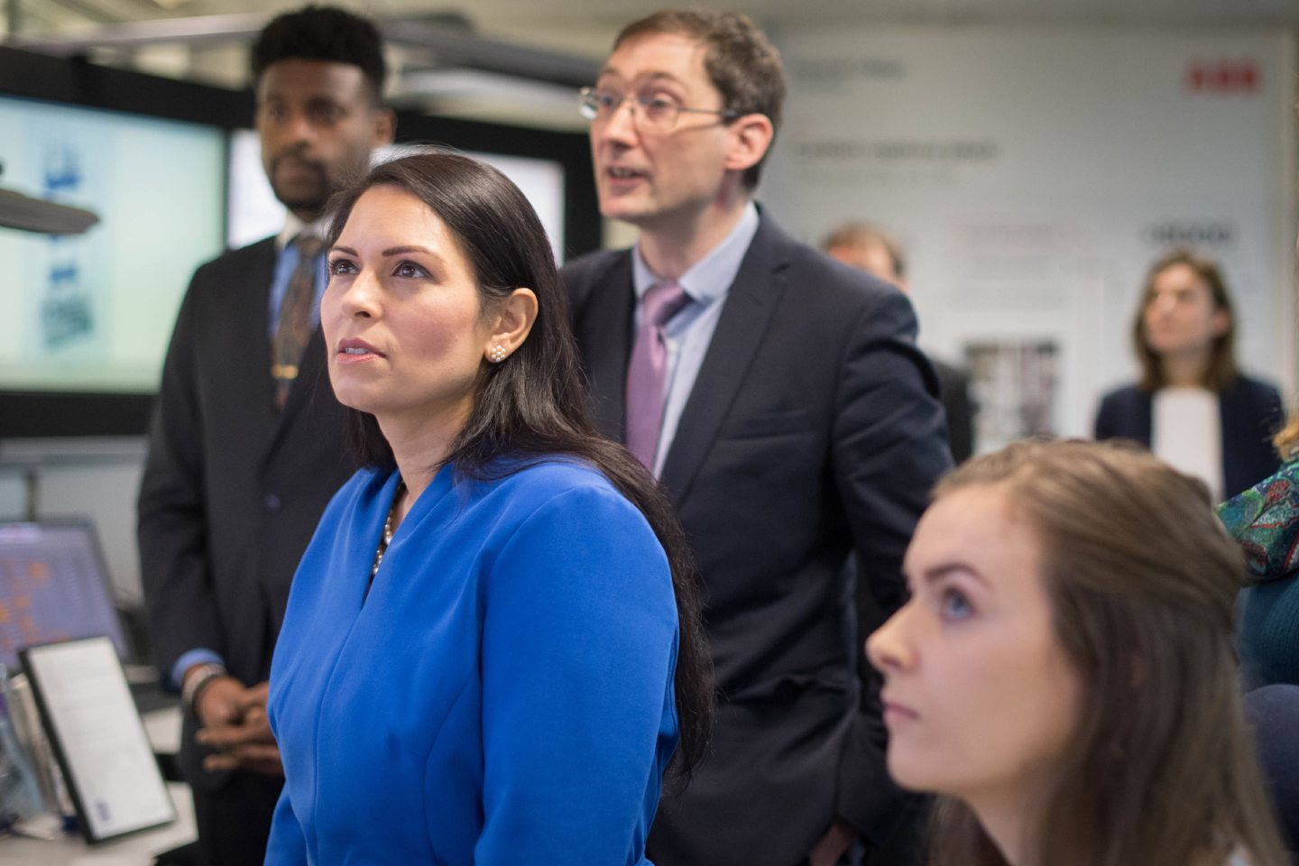 Home Secretary Priti Patel meets students and staff working on 'carbon capture' at Imperial College London in South Kensington, London where she announced plans for a new points-based immigration system.