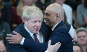 Prime Minister Boris Johnson and Chancellor Sajid Javid in happier times