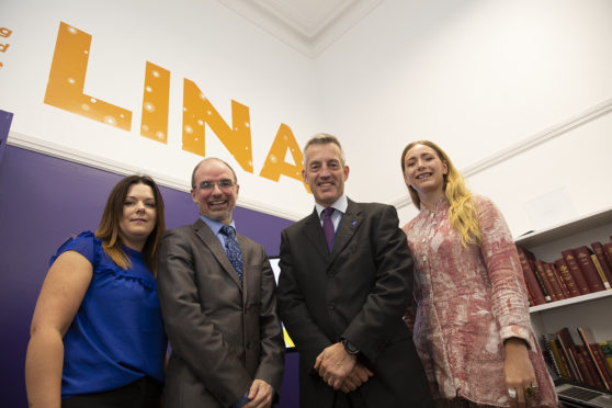 Launching LINA from left: entrepreneur and owner of Diversity Energy Solutions  Tracie Lovie, head of RGU's entrepreneurship and innovation group Chris Moule, Aberdeenshire Council chief executive Jim Savage, and entrepreneur Debbie McLeod, co-founder of Bairns