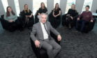 Higher Education Minister Richard Lochhead meeting EU students at Aberdeen University.