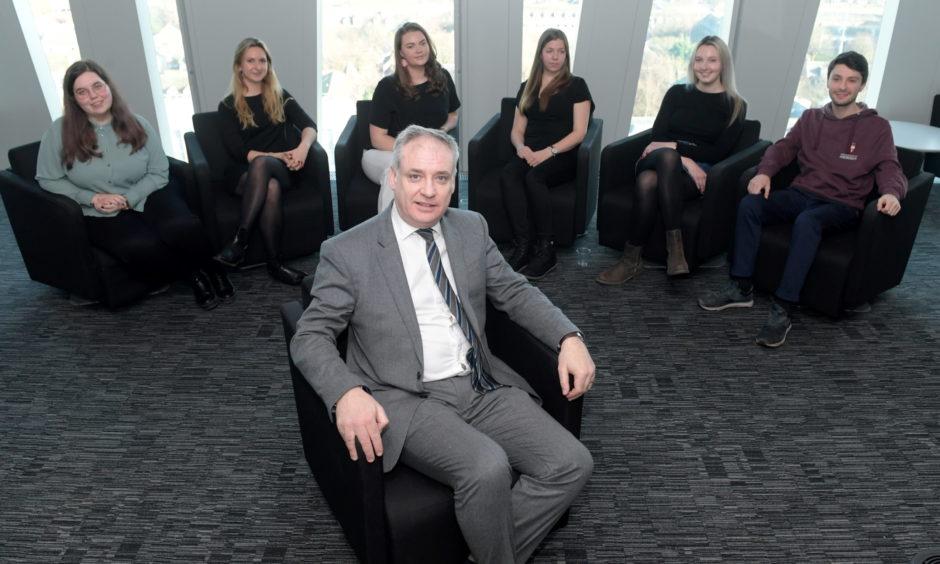Higher Education Minister Richard Lochhead meeting EU students at Aberdeen University.