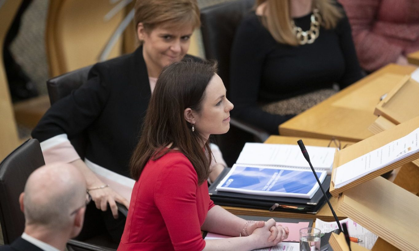 Nicola Sturgeon shows her approval after Kate Forbes stepped in to deliver the Scottish Government's Budget.