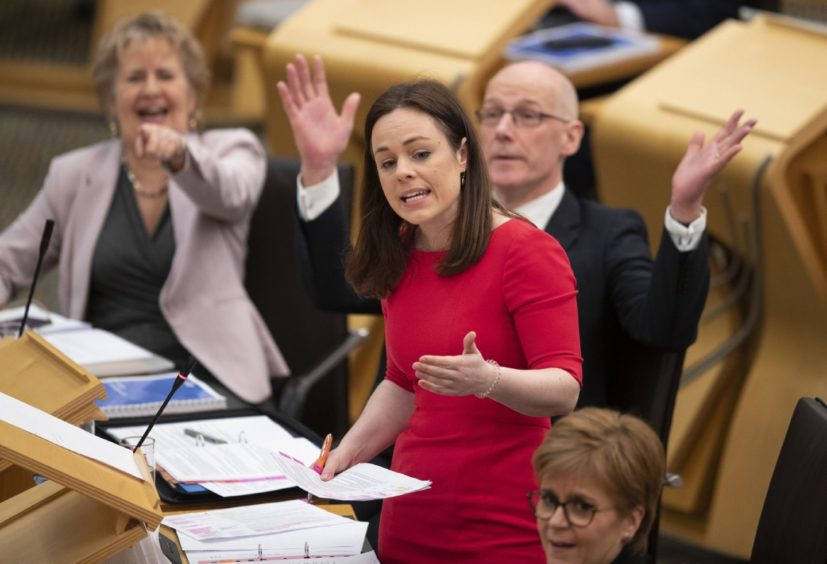 Public finance minister Kate Forbes unveils the Scottish Government's spending pledges for the next financial year in the debating chamber at the Scottish Parliament