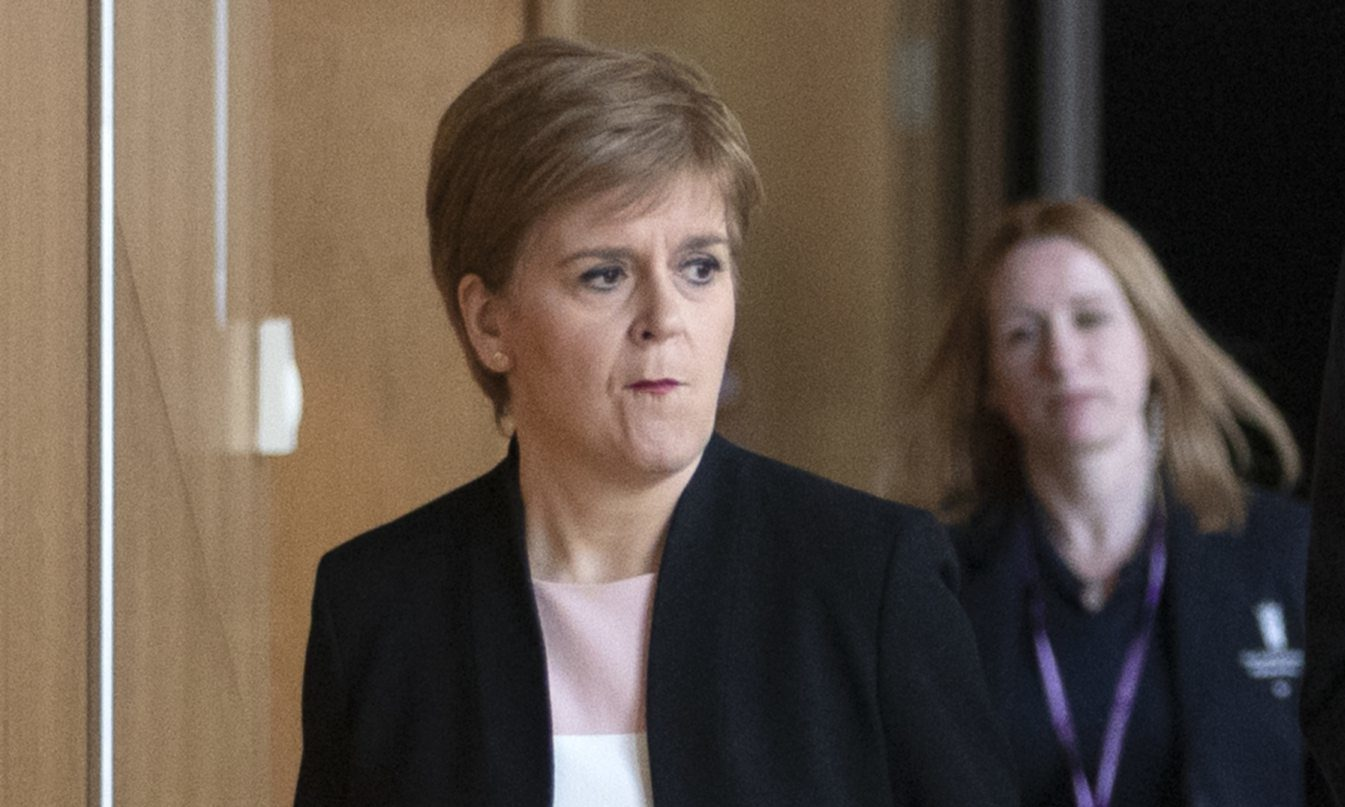 A tense-looking Nicola Sturgeon arriving to give her statement on Derek Mackay ahead of FMQs.