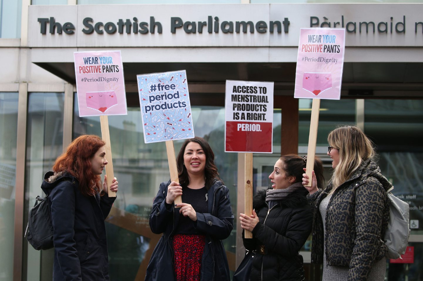 Monica Lennon MSP (second left) joins supporters of the Period Products bill at a rally outside Parliament in Edinburgh.