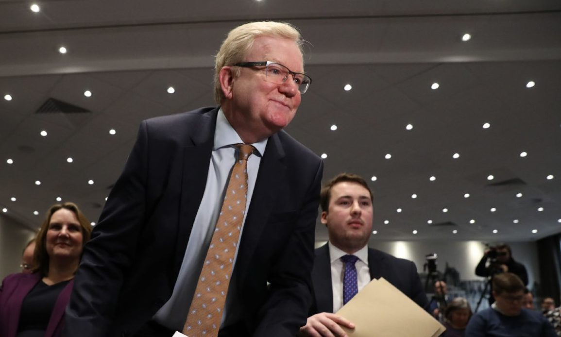 Jackson Carlaw rises to make a speech after being confirmed as the new leader of the Scottish Conservatives.