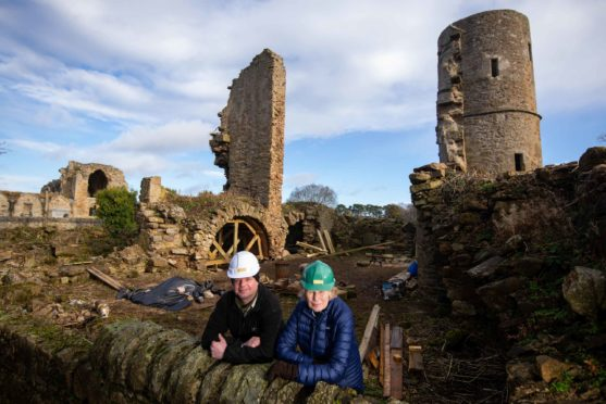 Andy Newcombe, director of contractors Masonry and Lime, and Kirsteen Mitcalfe, chairwoman of Kinloss Abbey Trust, at the former Abbot's house.