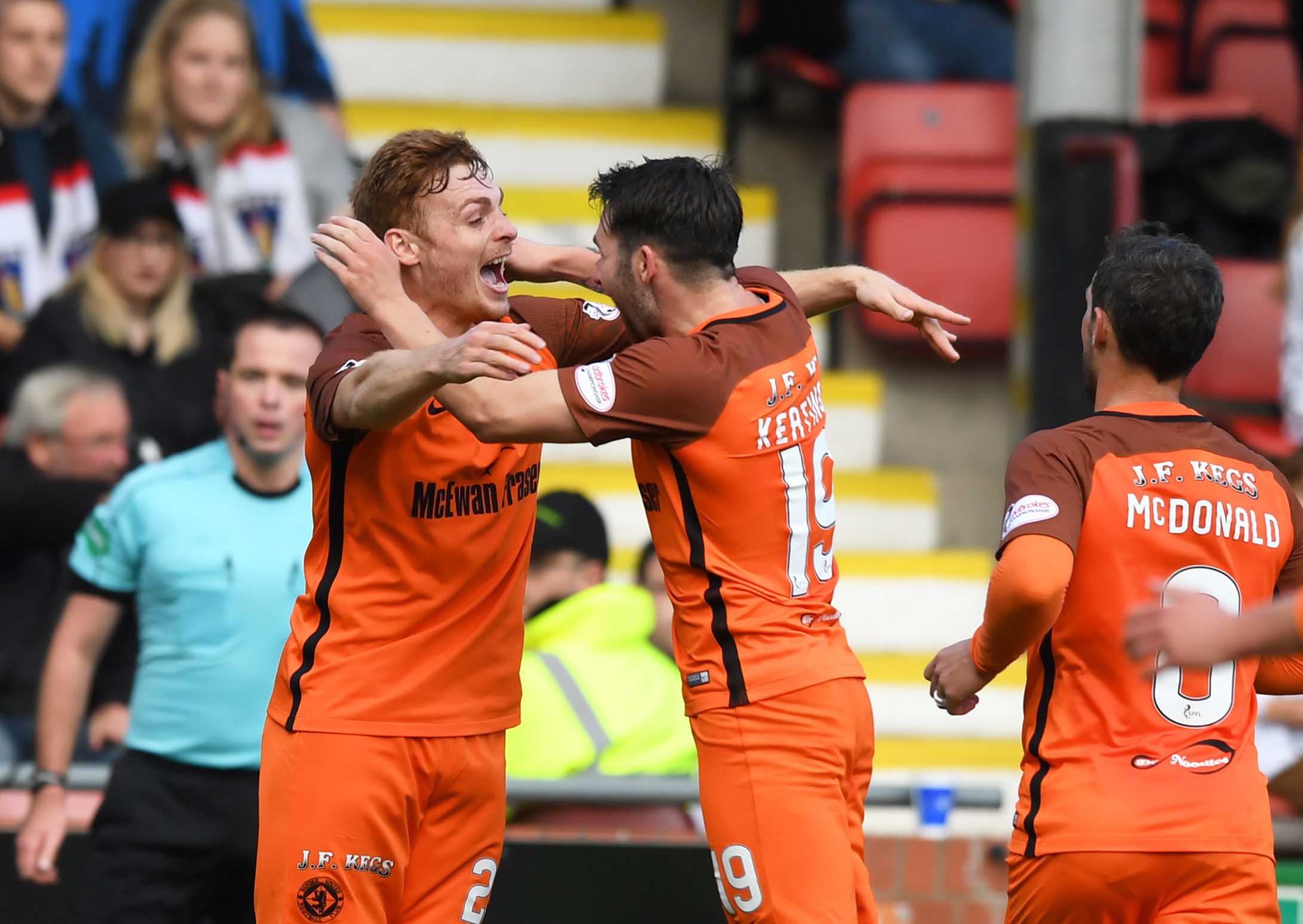 Fraser Fyvie and James Keatings celebrate during their time together at Dundee United.