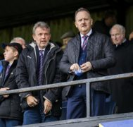 Scot Gardiner (right) pictured with Caley Thistle chairman Ross Morrison.