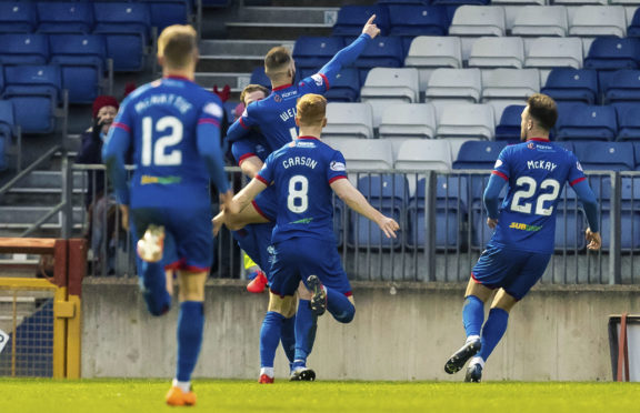 Sean Welsh celebrates making it 1-0 to Inverness.