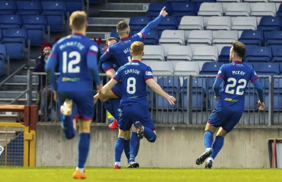Sean Welsh celebrates making it 1-0 to Inverness during the William Hill Scottish Cup 5th Round match between Inverness Caledonian Thistle and Livingston