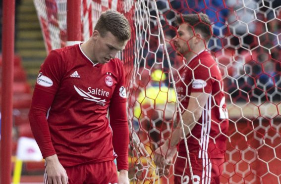 Aberdeen's Lewis Ferguson walks off dejected after coming close to scoring during the Scottish Cup 5th round tie between Aberdeen and Kilmarnock