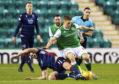 Iain Vigurs in action against Hibernian.