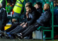 Ross County co-managers Stuart Kettlewell (L) and Steven Ferguson look on during the Ladbrokes Premiership match between Hibernian and Ross County at Easter Road.