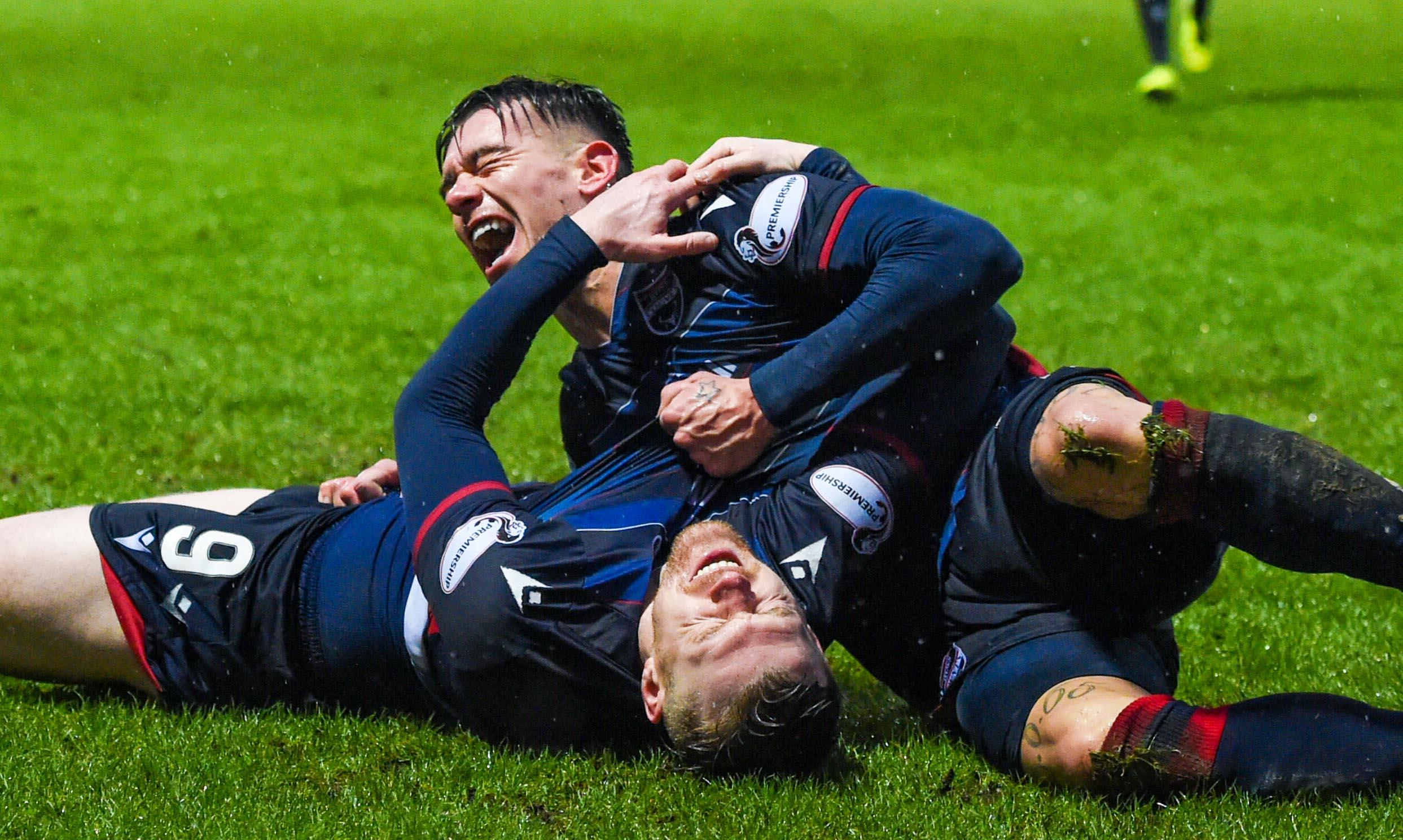 Josh Mullin and Billy Mckay celebrate the latter's equaliser against St Johnstone.