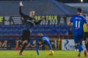 James Keatings is shown a second yellow card for simulation during the Tunnock's Caramel Wafer Cup semi-final.