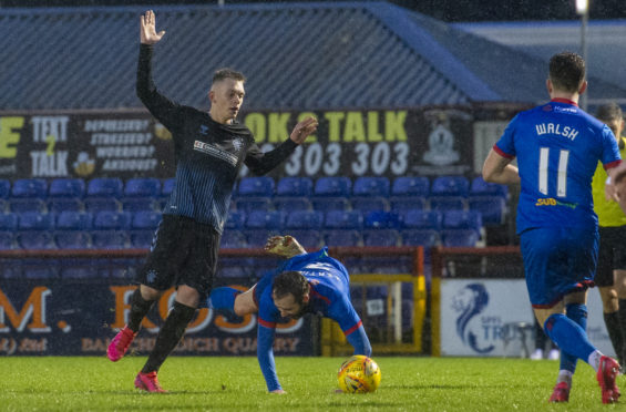 Keatings went down after apparent contact from Rangers' Ciaran Dickson.