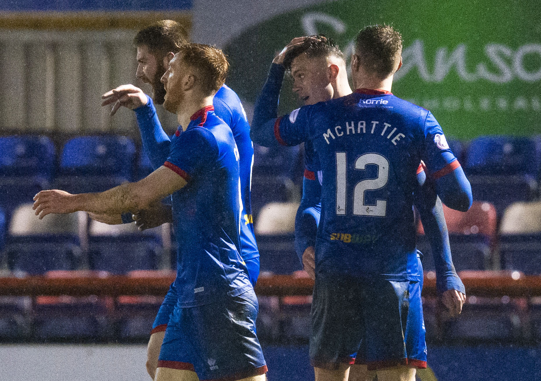 Miles Storey is congratulated after his winning goal.