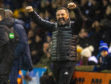 Derek McInnes celebrates his side's victory on Wednesday.