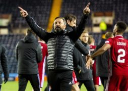 Derek McInnes celebrates at full-time during the William Hill Scottish Cup last-16 replay between Kilmarnock and Aberdeen.