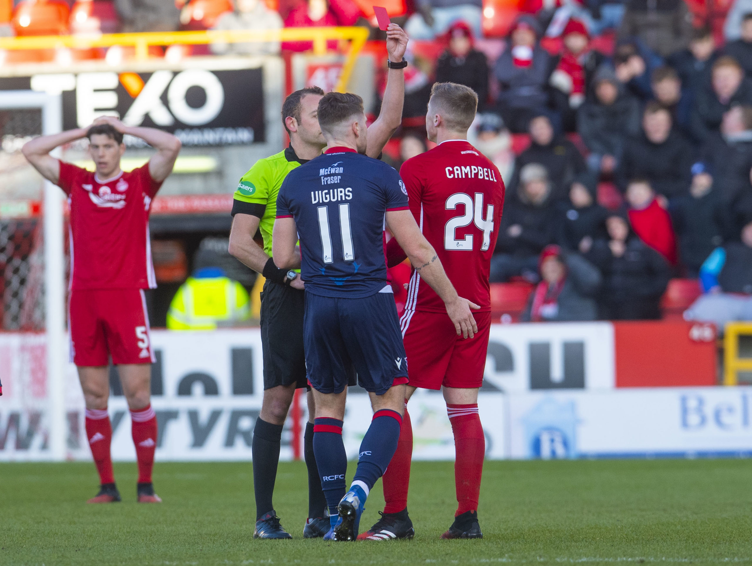 Dean Campbell is sent off by referee Gavin Duncan during the Ladbrokes Premiership match between Aberdeen and Ross County