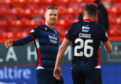 Ross County's Billy McKay, left, celebrates with Don Cowie at full-time during the Ladbrokes Premiership match between Aberdeen and Ross County.