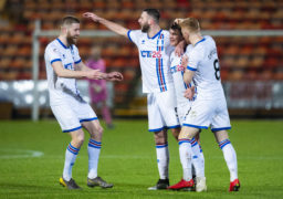 Caley Thistle players celebrate Aaron Doran's goal.