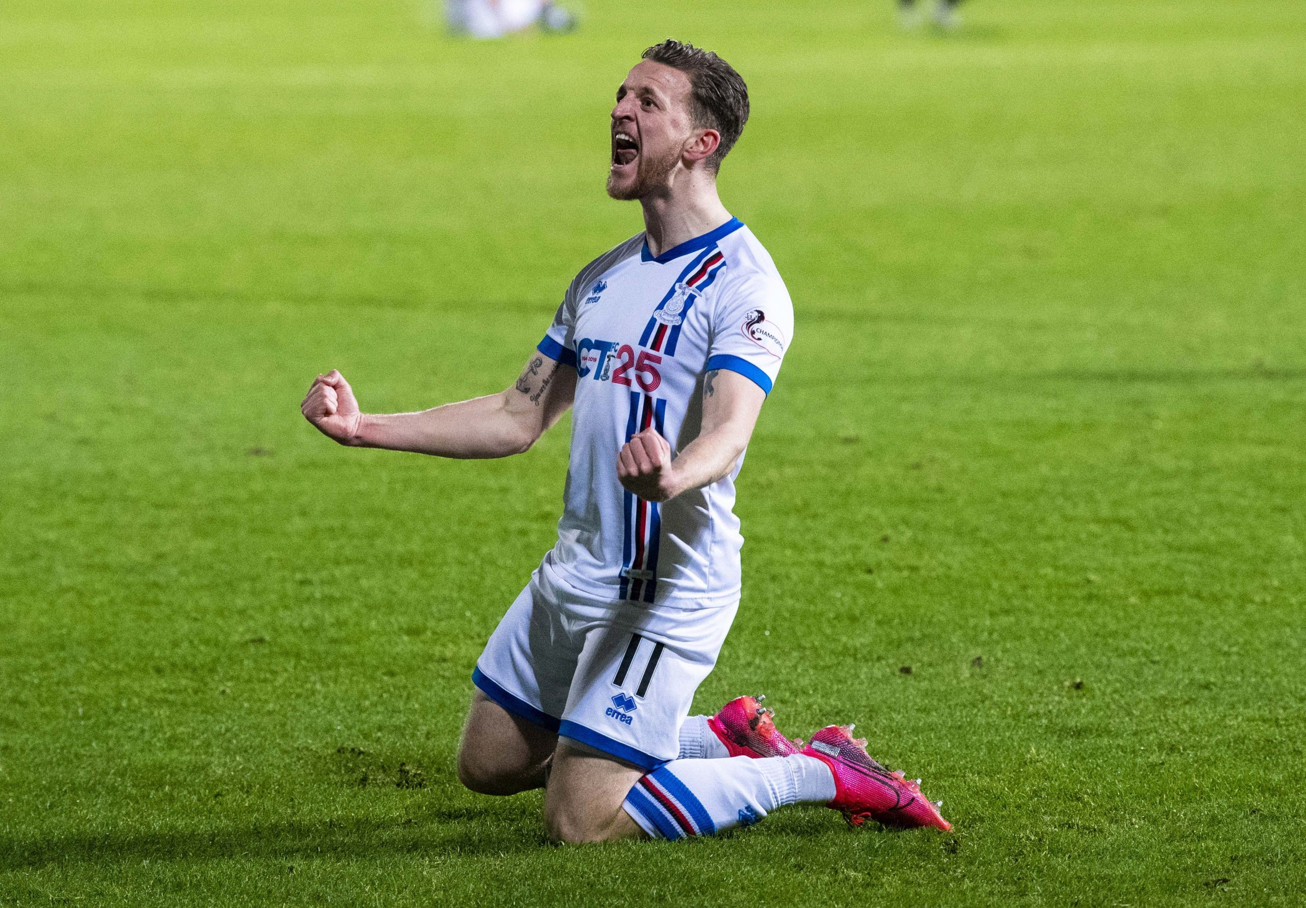 Tom Walsh celebrates making it 2-1 to Inverness during the Ladbrokes Championship match between Dunfermline and Inverness Caledonian Thistle.