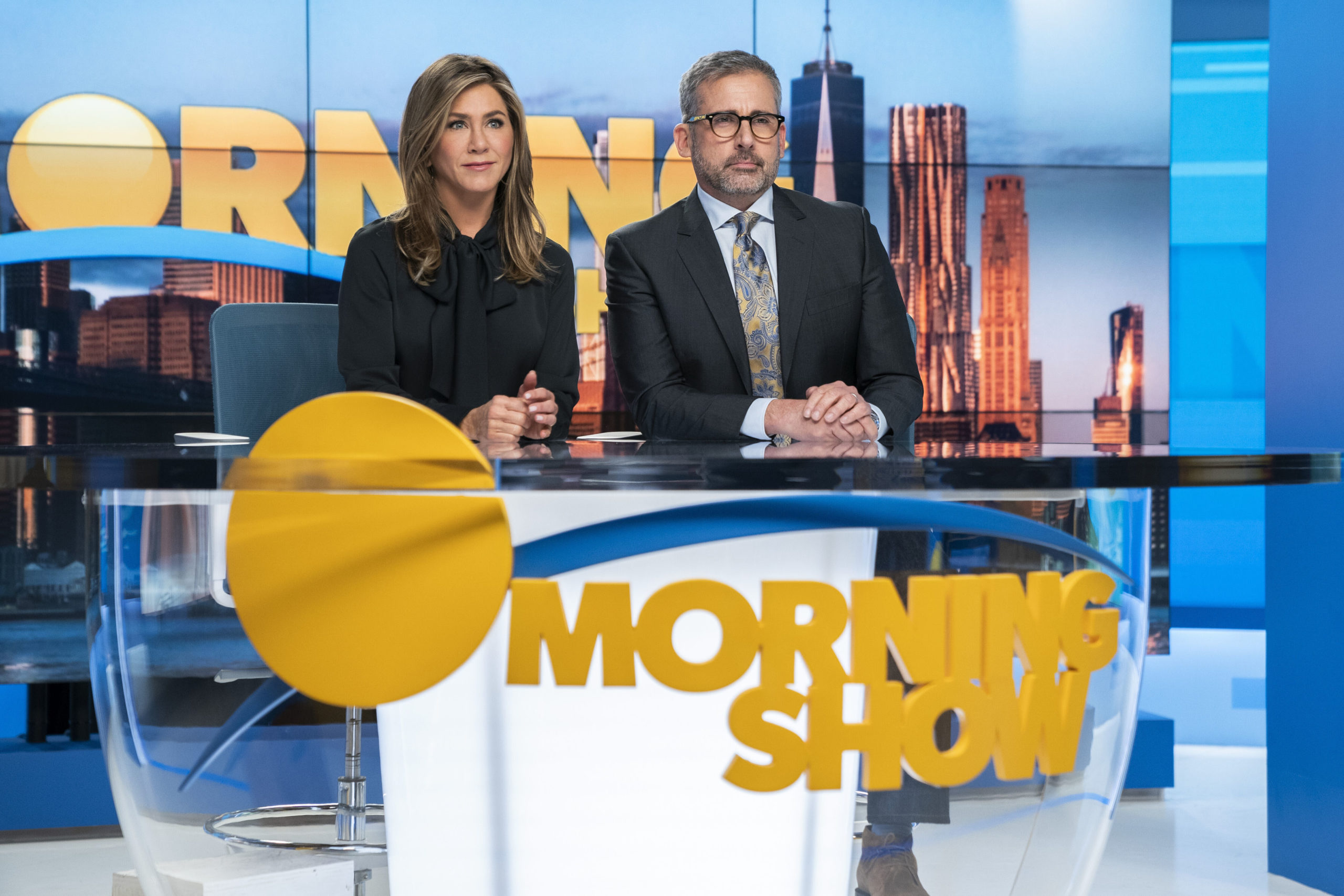 "Steve Carell as Mitch Kessler, the Weinstein-like character in The Morning Show , with Jennifer Aniston as Alex Levy, the ""queen bee"" female character who at first colludes with Kessler's predatory behaviour."