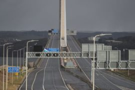 The Queensferry Crossing is empty of traffic after it was closed due to bad weather on Tuesday February 11, 2020.