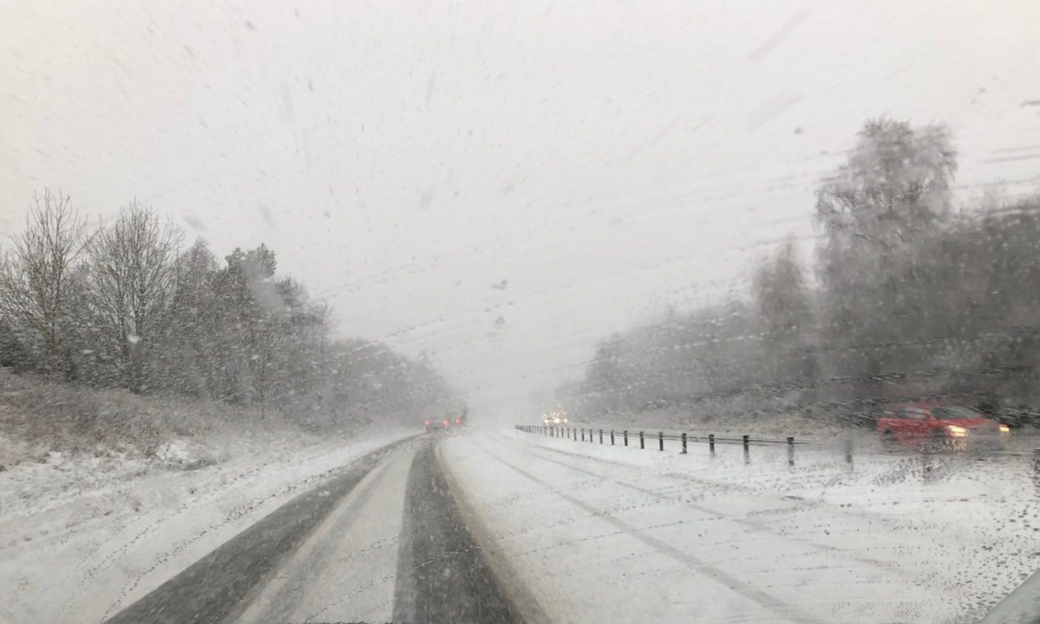 VIDEO: Heavy snow falling across the Highlands as tanker crash blocks the A9 | Press and Journal