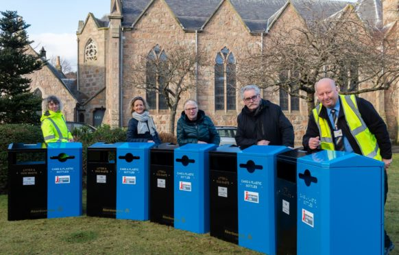 Lesley Forrest and Jim Donald from Aberdeenshire Council's Waste Services along with community representatives Mairi Redhead, Pat Downie and William Braid.