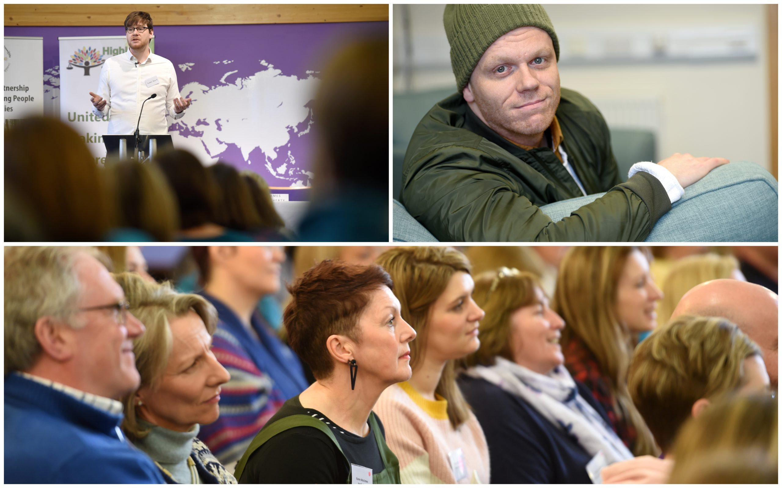 Luke Hart, top left, and Darren McGarvey, top right, were two of the speakers at the conference. Pictures by Sandy McCook