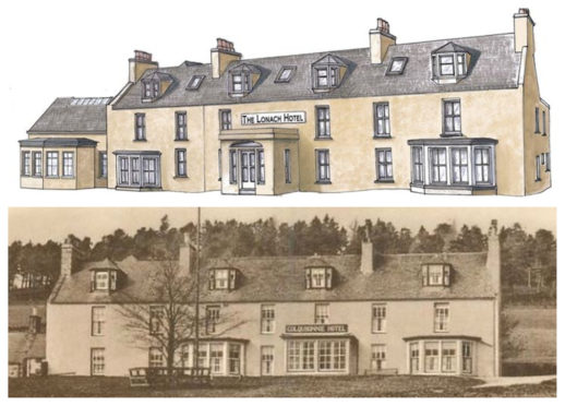 Artist's impressions of the final product, above, and the hotel in its former life as Colquhonnie House Hotel