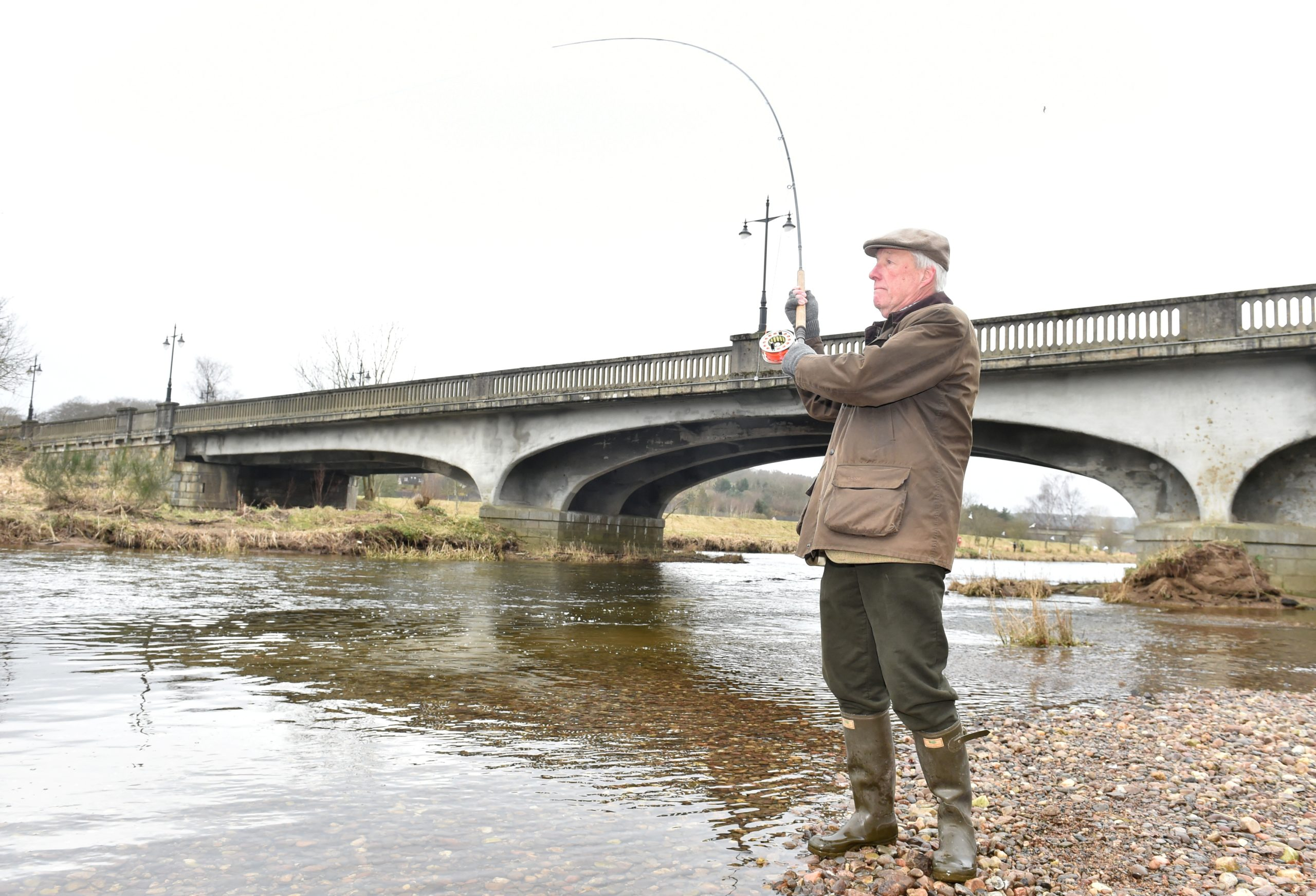 Aberdeenshire Lord Provost Bill Howatson casts the first line. Picture by COLIN RENNIE