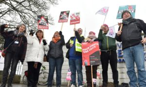 Aberdeen University lecturers are protesting pay cuts. Picture by COLIN RENNIE