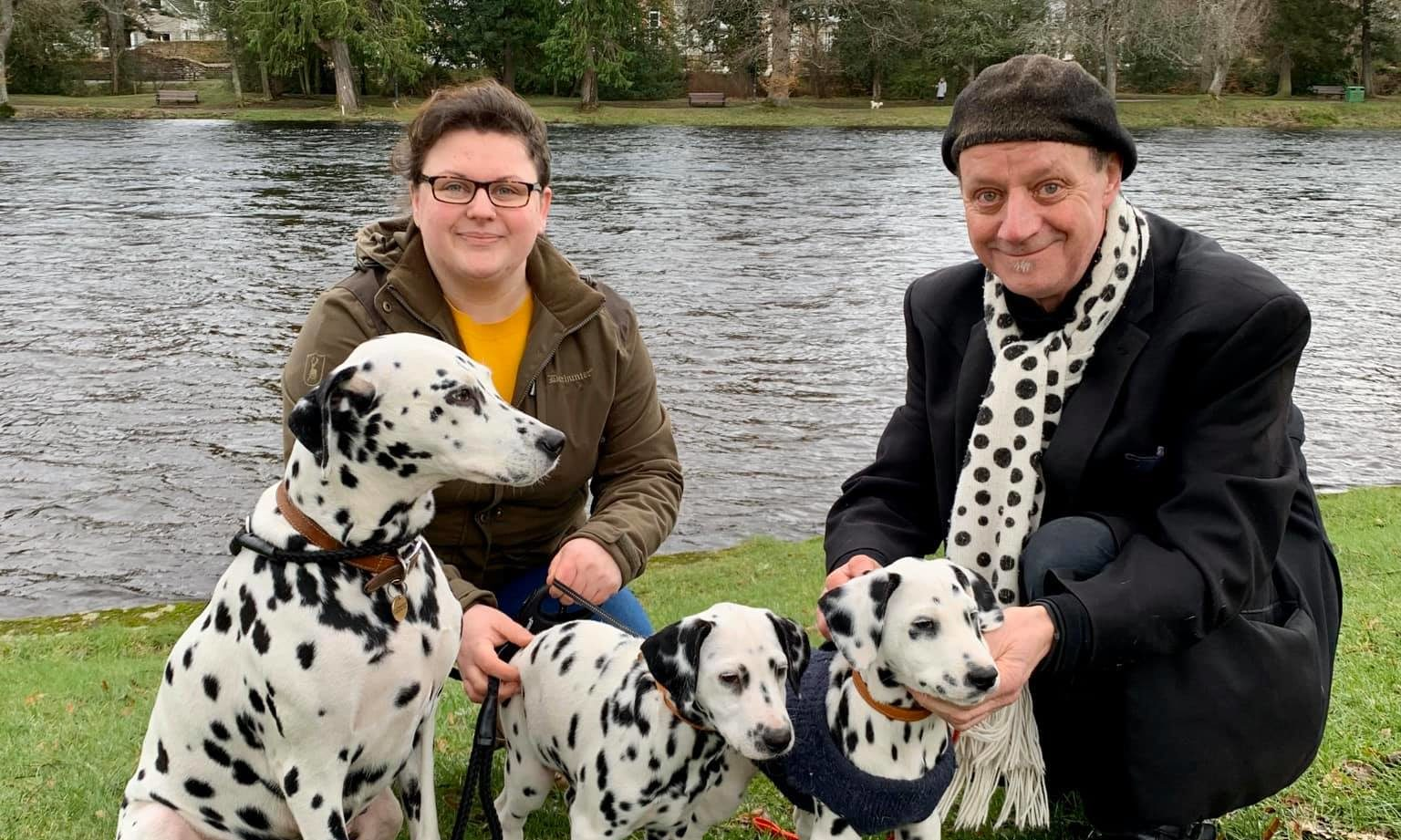 Mhairi Duncan with Fidget and Lottie (Moby's mum and sister) and John with Moby