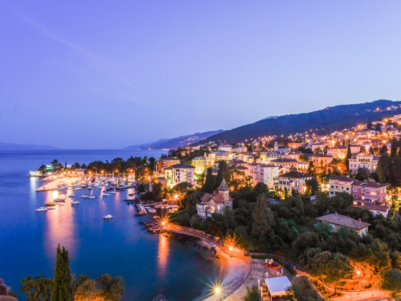 Opatija at night.
