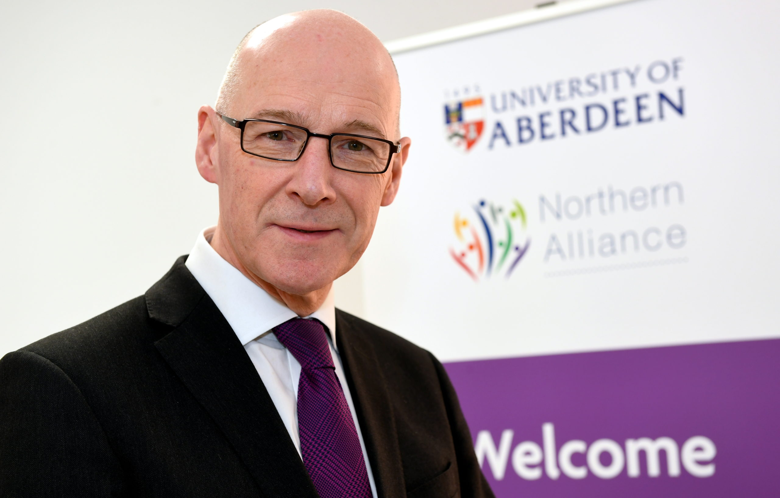 Deputy First Minister John Swinney at the Alliance Learning Hub at Aberdeen University's MacRobert Building.       Picture by Kami Thomson