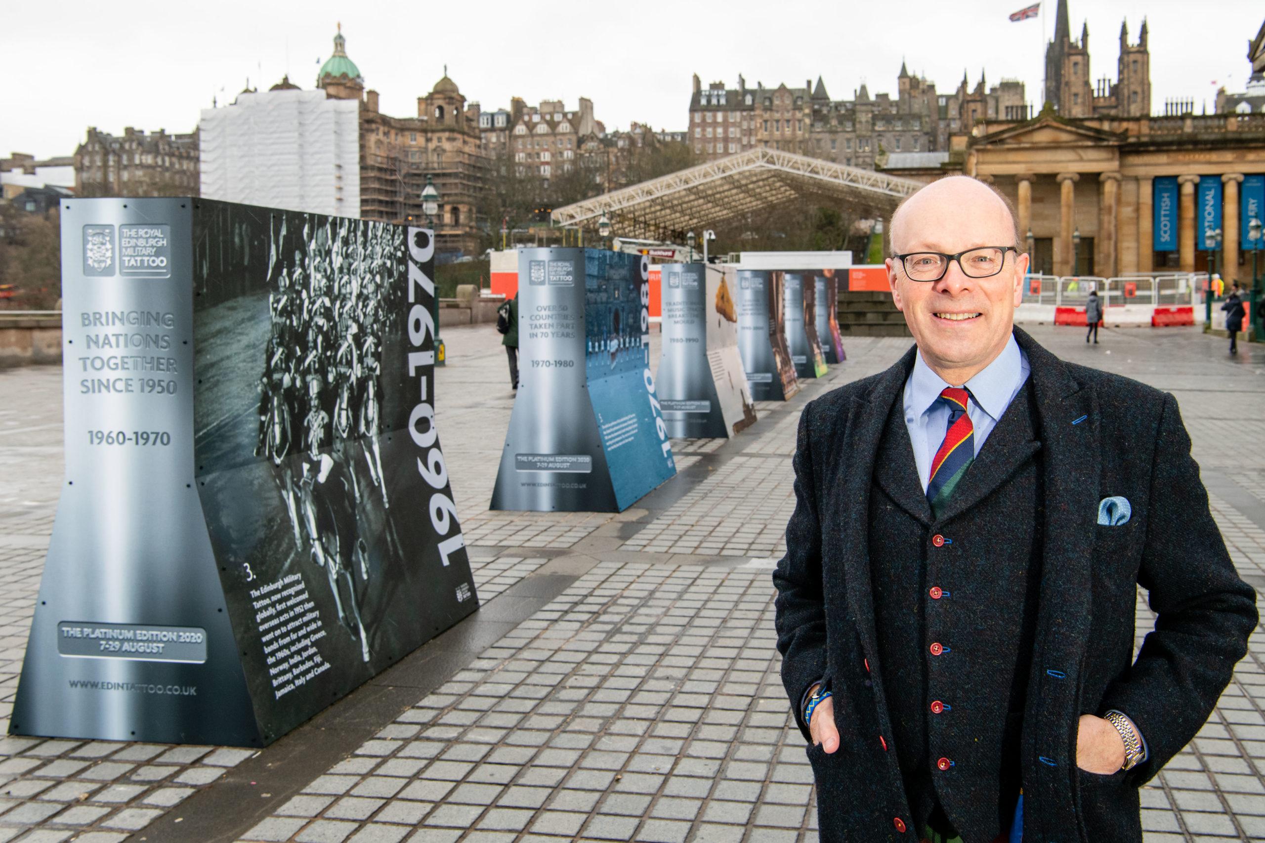 Brigadier David Allfrey MBE at the display next to the Scottish National Gallery