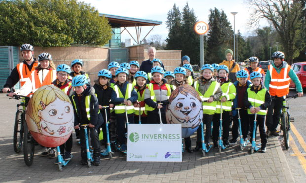 Councillor Alex Graham joined pupils from Central Primary School and Inverness High School today at the Inverness Leisure Centre.