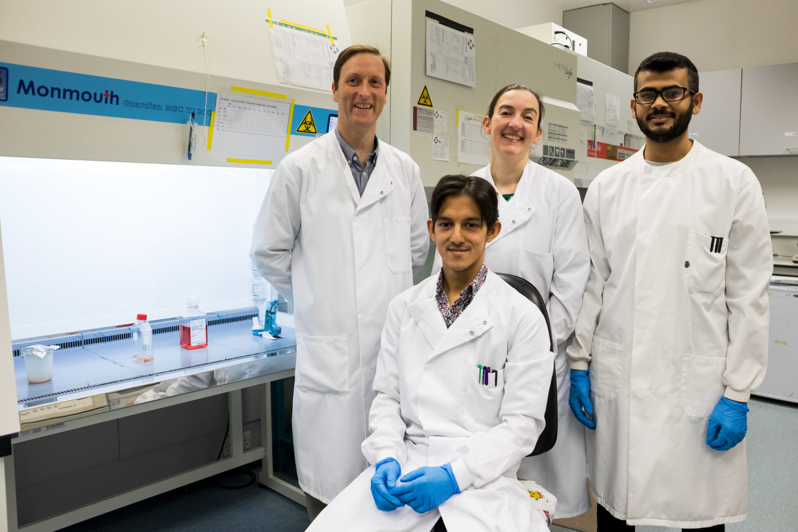 Dr Ian Fleming (back left) with Dr Kirsten Laws (back middle) and PhD students are Andrew Mohan (front) and Bandar Alwadani (back right)